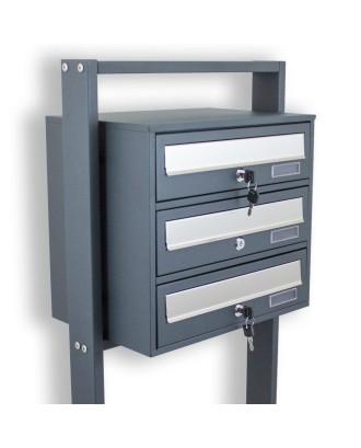 1 x 3 pašto dėžučių sistema PILKA